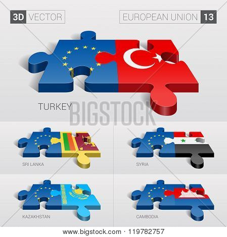 European Union Flag. 3d vector puzzle. Set 13.