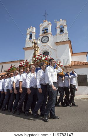 Costaleros Carriying A Float During The Last Holy Week Procession Or Resurrection Day