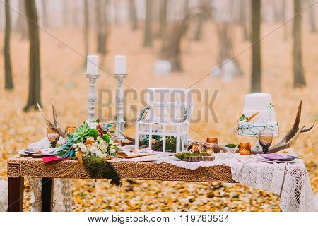 Vintage wedding table decorated with deer horns and features
