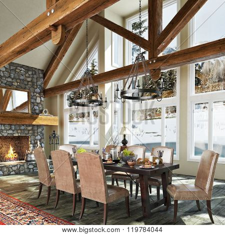 Luxurious open floor cabin interior dinning room design with roaring stone fireplace and winter scen