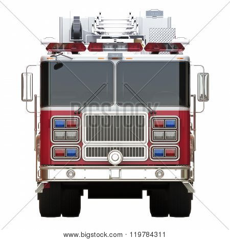 Generic firetruck illustration front view on a white background, part of a first responder series