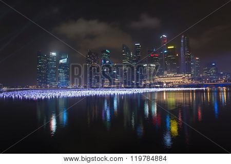 Marina Bay Decorated By Balls On The Water.