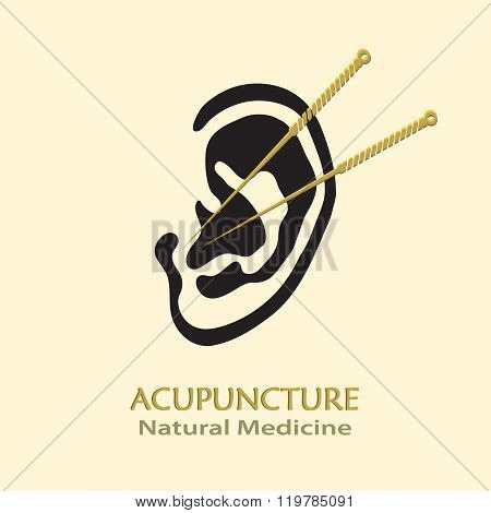 Human Ear with Acupuncture Needles vector sgn