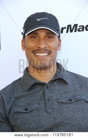 Woody Wilson arrives at the inaugural Stephen Bishop celebrity golf invitational benefiting R.A.K.E. on Feb. 15, 2016 at Calabasas Country Club in Calabasas, CA.