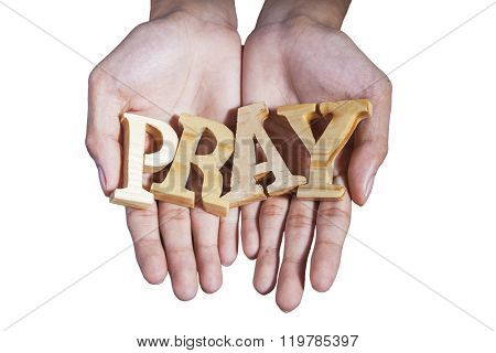 Prayer Hands Hold A Word Of Pray