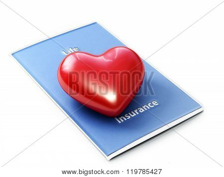 Life insurance concept . Heart sitting on a life insurance brochure with a white background.