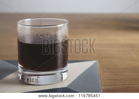 Transparent Glass With Aero Press Coffee Isolated