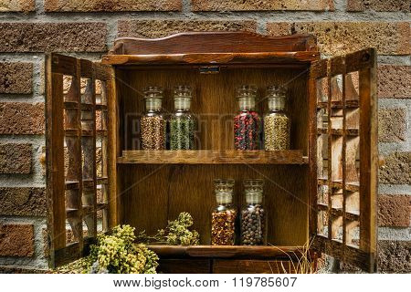 Farms vintage Spice Rack or Storage Cabinet: Wall Mount - Display Shelf Six Glass Bottleson rural background village life