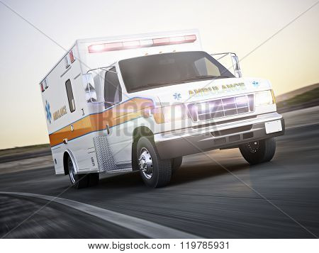 Ambulance running with lights and sirens on a street with motion blur.