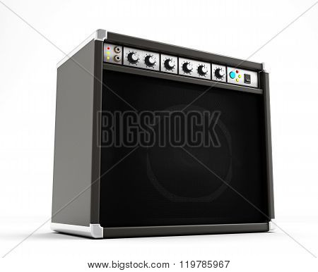 Black amplifier with dials isolated on white background