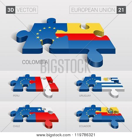 European Union Flag. 3d vector puzzle. Set 21.