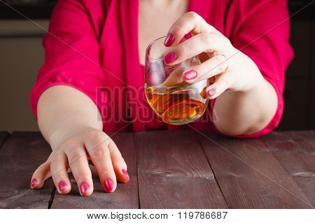 Woman Drink Whiskey From Glass