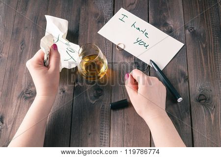 Woman Drink Alcohol And Write Message
