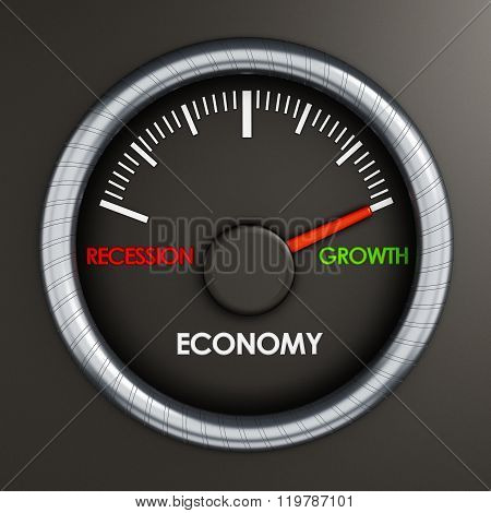 Speed meter indicates economic growth written with green color