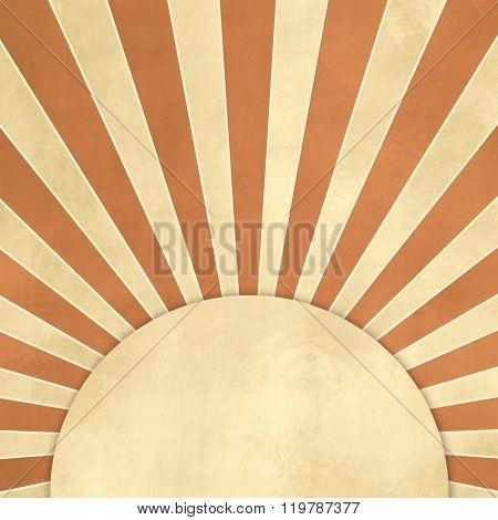 Starburst background retro brown beige with tan round label