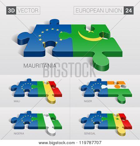 European Union Flag. 3d vector puzzle. Set 24.