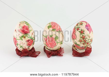 Decoupage Easter Eggs On White Background