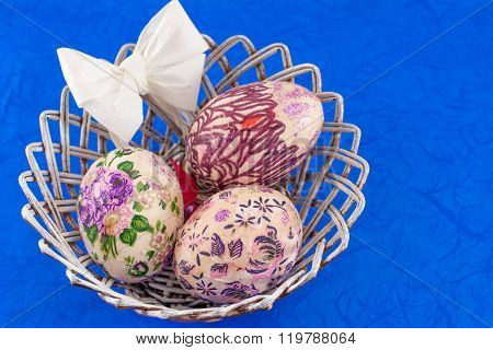 Decoupage Decorated Easter Eggs In A Basket