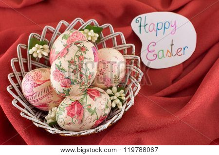 Happy Easter Card With Decorated Easter Eggs