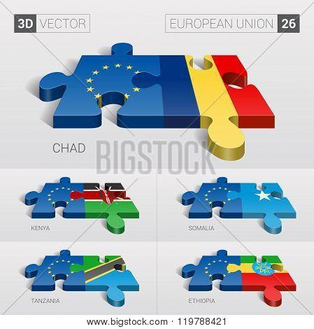 European Union Flag. 3d vector puzzle. Set 26.