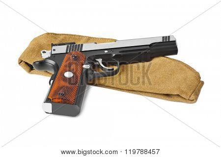 Army soldiers forage-cap and pistol isolated on white background