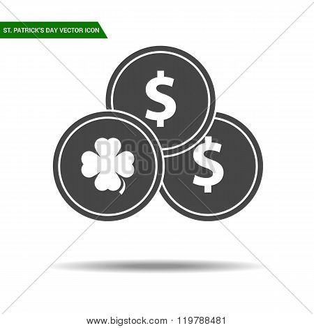 St Patricks Day coins icon flat vector.