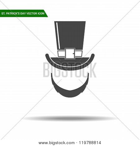 St Patricks Day hat with beard flat icon vector.