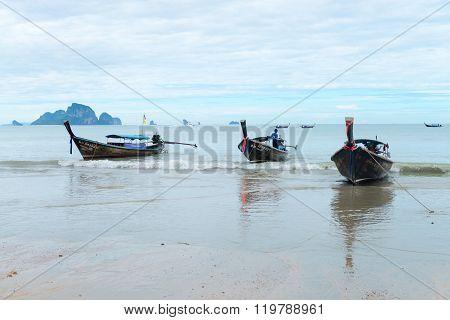 Long Boats Moored At Ao Nang Beach Krabi