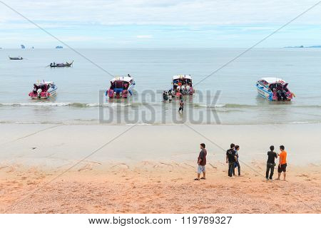 Power Boats At Ao Nang Beach Krabi