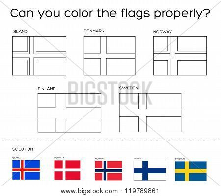 Coloring Book Task - Scandinavian Flags With Solution
