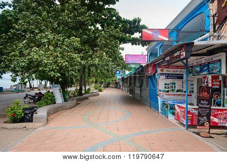 Tourist Street With Shops And Tours Agents In Ao Nang, Krabi