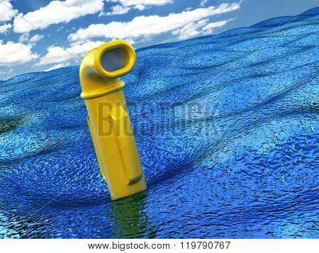 Yellow Periscope Over Water