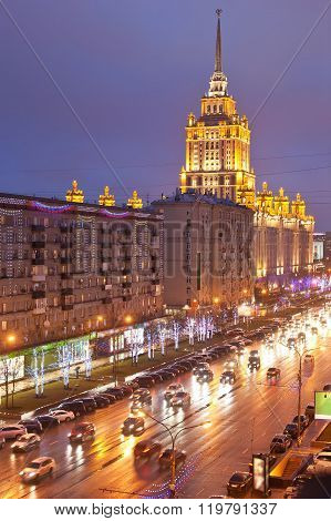 View of the Kutuzovsky Prospect in evening time. Moscow. Russia