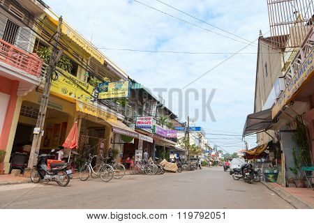 Tourist Street Of Restaurants At Siam Reap Cambodia