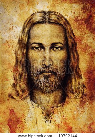 pencils drawing of Jesus on vintage paper. with ornament on clothing. Old sepia structure paper. Eye