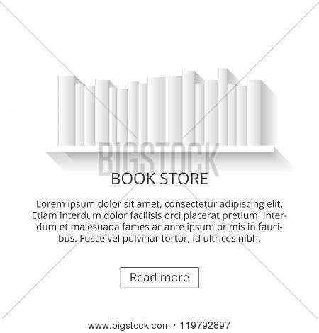 shelves, shop selling books. 3d book on a white background.