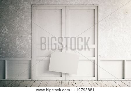 Empty Interior With White Doors And Blank Sign, Mock Up, 3D Render