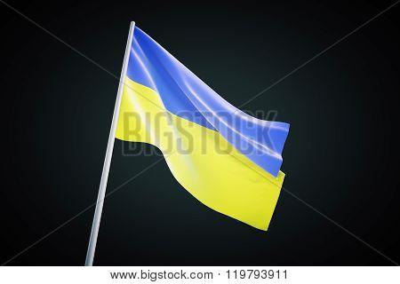 Ukraine Flag Waving On A Black Background, 3D Render