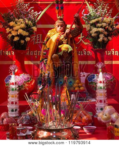 Chinese Lunar New Year Altar With Monkey King In Chinatown