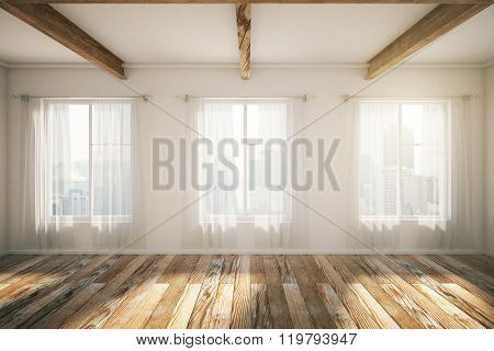 Loft Interior With Windows, Brown Parquet And Curtains