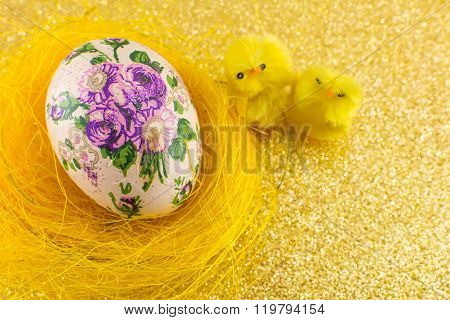 Decoupage Decorated Easter Eggs In A Nest