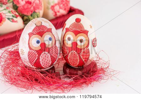 Decoupage Easter Eggs On Red Straw