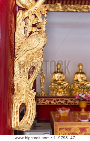 Ornate And Intricate, Hand Carved, Gold Framework On An Altar At Canton Shrine