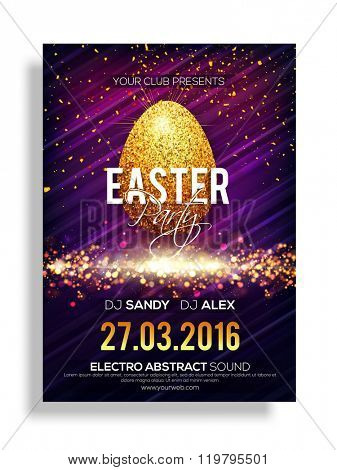 Creative Pamphlet, Banner or Flyer design with illustration of Golden Egg on shiny background for Easter Party celebration.
