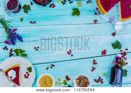 Currant - summer dishes with red currant, copy space