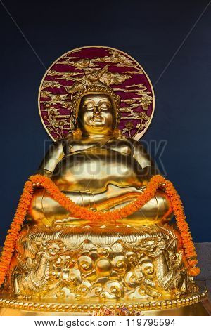 Intricately Detailed, Gold Buddha Sculpture At Canton Shrine