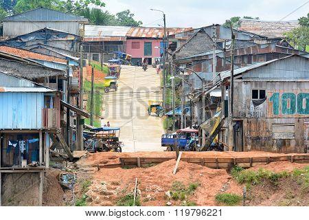 NAUTA, PERU - OCTOBER 12, 2015: Street Nauta Peru. Nauta is the 2nd largest city in the Peruvian Amazon.