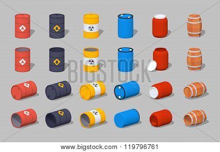 Set of the metal, plastic and wooden barrels