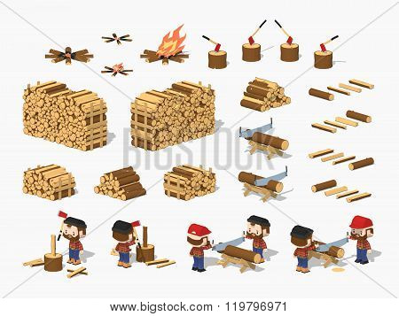 Firewood harvesting by lumberjacks