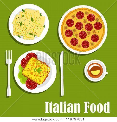Italian cuisine with pizza and ravioli